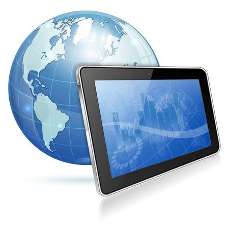tablette pc: Contexte d'affaires sur les Tablet PC �cran et de la Terre, illustration vectorielle isol� sur fond blanc
