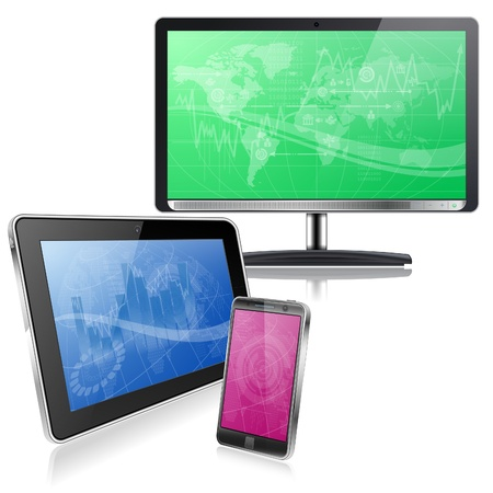 touchphone: Set of Computer Devices - Monitor, Tablet PC, Smartphone with Business Wallpaper on Screen, vector isolated on white