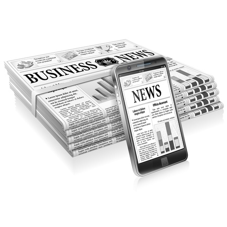Digital News Concept with Business Newspaper on Screen Smartphone and Stack Newspapers, vector isolated on white background Vector