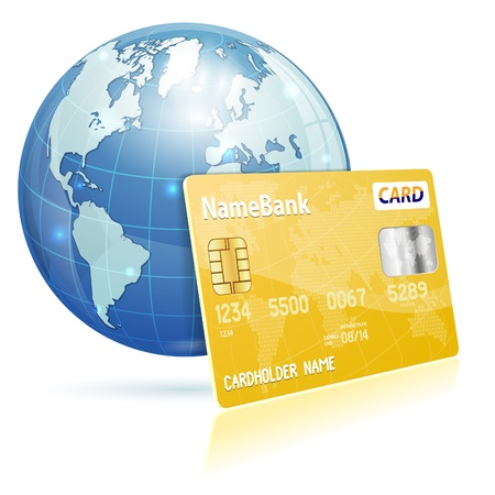 Global Financial Concept with Credit Card and Earth, vector icon isolated on white Stock Vector - 18253557