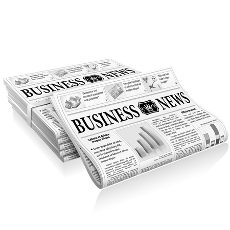 business news: Business News Concept with Stack Newspapers, vector isolated on white background