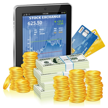Financial Concept Make Money on the Internet with Tablet PC and Stock Market Application on Screen and Money, icon isolated on white, vector