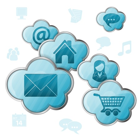 Cloud Computing Concept - Clouds with application icons, vector illustration Stock Vector - 18385654