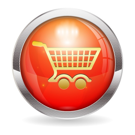 3D Red Button with Shopping Cart Icon Vector