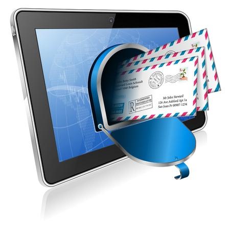 buzon: E-Mail concepto - Abrir buz�n de correo en la pantalla de Tablet PC, icono aislado sobre fondo blanco