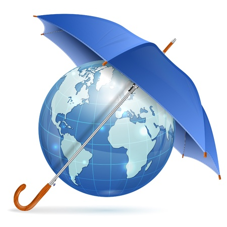 Umbrella Protect Earth, icon isolated on white background Stock Vector - 18421740