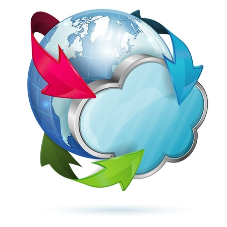Cloud Computing Concept with Earth, isolated on white background Stock Vector - 18421732