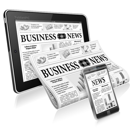 digital news: Digital News Concept with Business Newspaper on Screen Smartphone, Tablet PC and Newspapers, isolated on white background