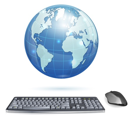 qwerty: Computer Concept - Realistic 3D Keyboard and Mouse with Earth, isolated on white background, illustration