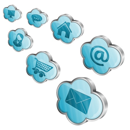 Cloud Computing Concept - Clouds with application icons, vector illustration Stock Vector - 18438564