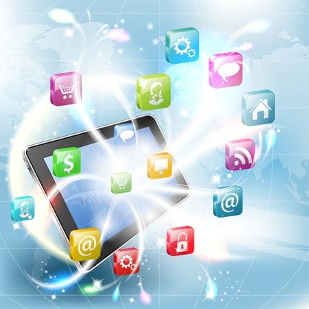 tablette pc: Concept d'affaires avec votre Tablet PC et ic�nes d'application, illustration vectorielle
