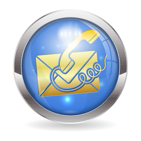 3D Circle Button with Telephone and Envelope Icon Contact Us, vector illustration Vector