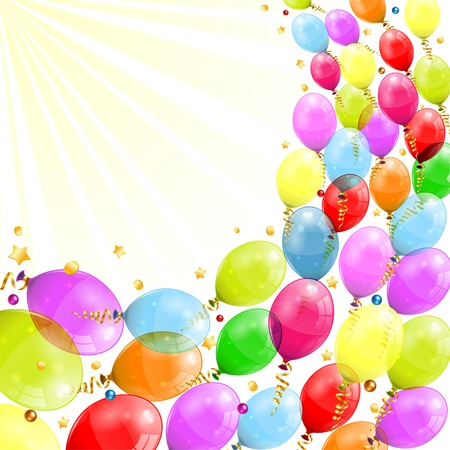 anniversary party: 3D Transparent Birthday Balloons with Streamer, and confetti, easy change color, vector