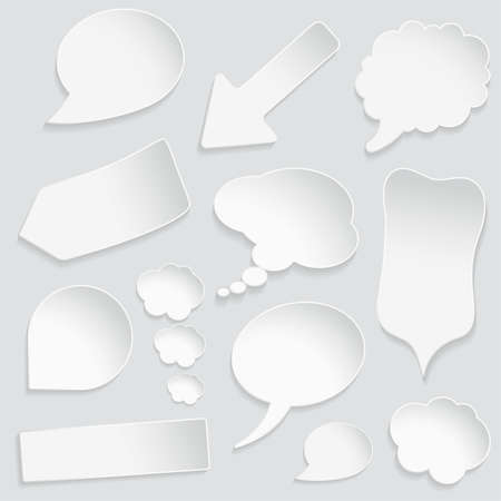 tweet balloon: Set of paper speech and thought bubbles, element for design, vector illustration