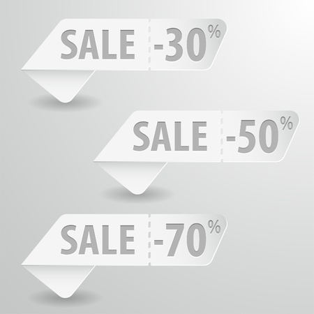 Collect Paper Sale Signs with Tear-off Coupon, vector illustration Stock Vector - 18540117
