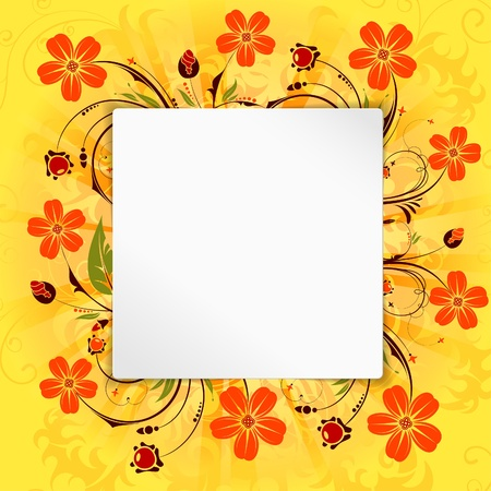 Flower Frame with Blank Page, vector background Stock Vector - 18540125