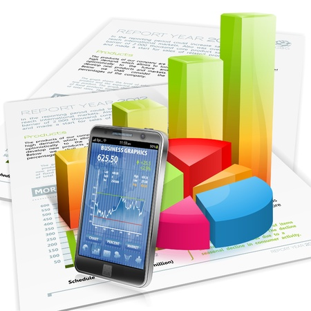 smartphone business: Financial Concept with Smartphone, Business Report and Graphs, vector isolated on white background