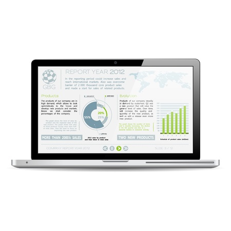 financial year: Modern Laptop with Presentation Company Year Report on Screen, isolated on white background, vector illustration Illustration