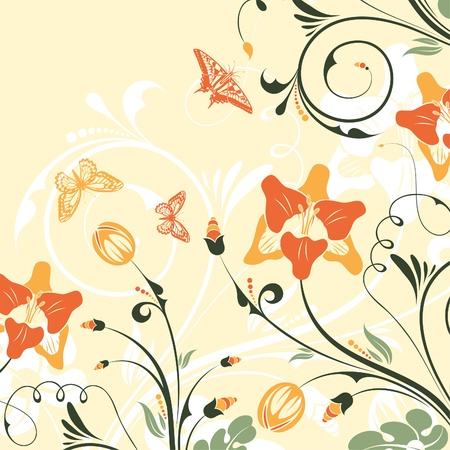 Flower Frame with Bud and Butterfly illustration background Stock Vector - 18727196