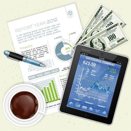 tablette pc: Concept d'affaires et de travail g�n�ral avec une illustration Tablet PC Cup, Dollars, rapport, stylo et caf� Illustration
