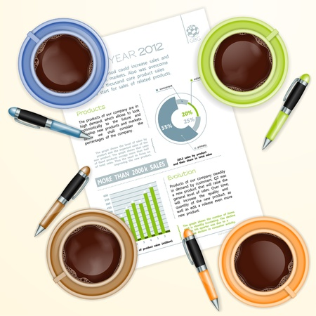 coffee company: Teamwork Concept with Company Report, Coffee Cups and Pens illustration