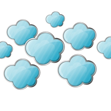 Cloud Computing Concept - Clouds isolated on white background illustration Stock Vector - 18727200