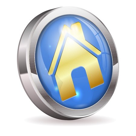 3D Button with Home Icon illustration isolated on white background Stock Vector - 18727190