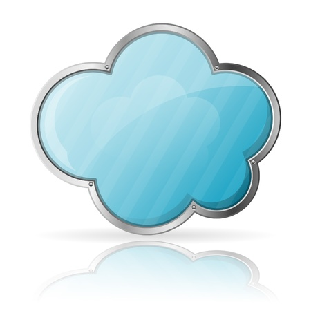 Cloud Computing Concept - Cloud with Reflection isolated on white background, vector illustration Stock Vector - 18787101