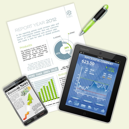 report card: Business and Corporate Work Concept with Tablet PC, Report, Pen and Coffee Cup