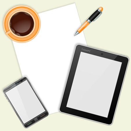 rollerball: Business and Corporate Work Concept with Tablet PC, Mobile Phone with Blank Screen, Sheet Paper, Pen and Coffee Cup