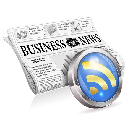 Digital News Concept with Business Newspaper and RSS Feed Button, isolated on white background Stock Vector - 18787121