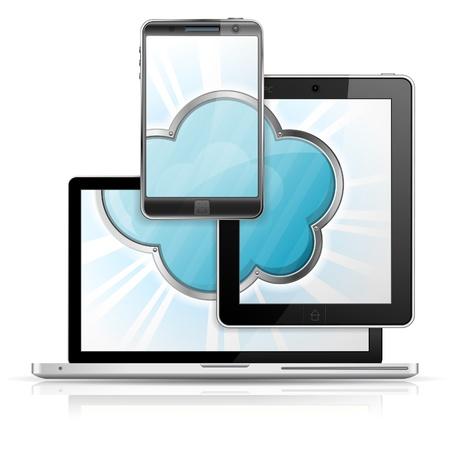 tablette pc: Cloud Computing Concept - Cloud � l'�cran Tablet PC, smartphone et un ordinateur portable, ic�ne isol� sur fond blanc
