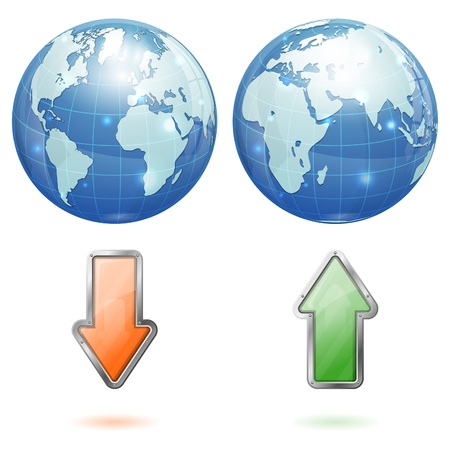 Earth with Upload and Download Arrows, icon isolated on white background Stock Vector - 18787123