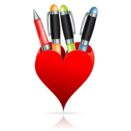 rollerball: Box in the form of Hearts with Pens, vector icon isolated on white background Illustration