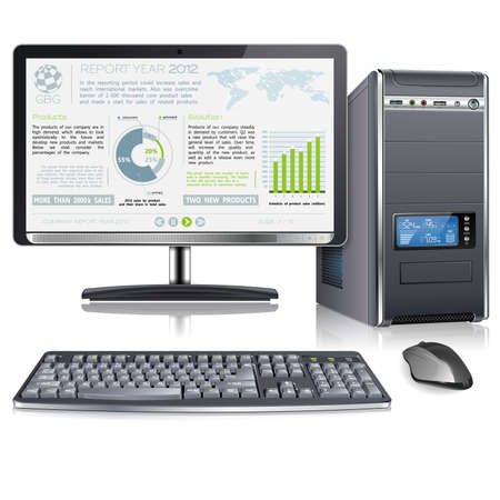 pc monitor: Computer Case with Monitor, Keyboard, Mouse and Presentation Company Year Report on Screen, isolated on white background, vector