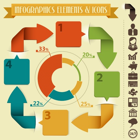 Infographics Design Template with Arrows, Pie Chart and Icons, vector Stock Vector - 18874520