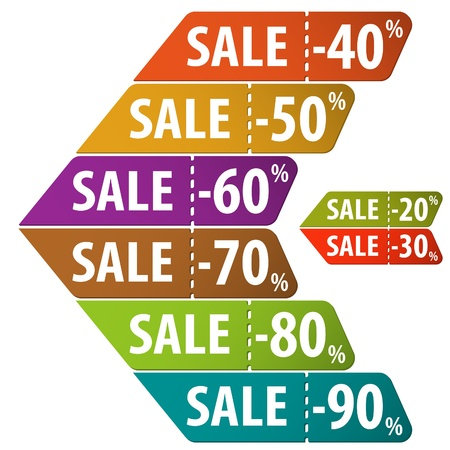 Collect Sale Signs with Tear-off Coupon, vector illustration Stock Vector - 18874461