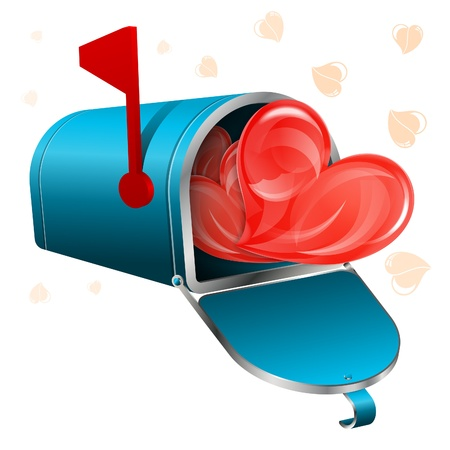 Love Letter Concept - Open Mailbox with Hearts, vector icon isolated on white background Vector