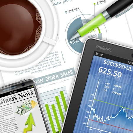 rollerball: Business and Corporate Work Concept with Tablet PC, Report, Pen and Coffee Cup, vector