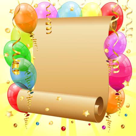 verjaardag frame: Verjaardag Frame met 3D Transparante Verjaardag Ballonnen, Scroll papier, Confetti en Streamer, vector
