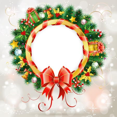 Decorative Christmas Wreath with Ribbon, Candy and Decoration element Vector