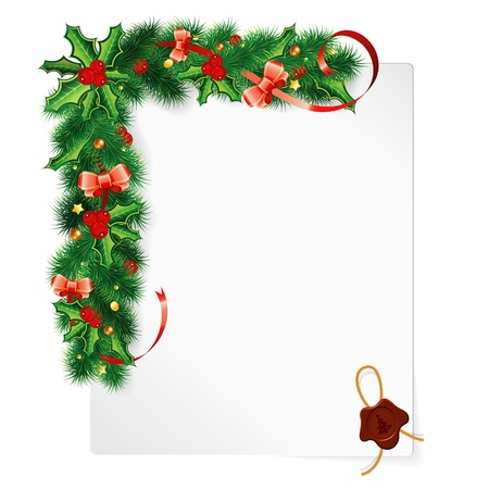 Christmas Frame with Holly Berry, Fir Branches, Mistletoe, Bow and Sheet Paper, vector illustration Stock Vector - 22150729
