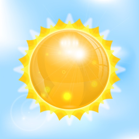 3D Sun on Bright Background with Clouds, vector illustration Stock Vector - 22150731