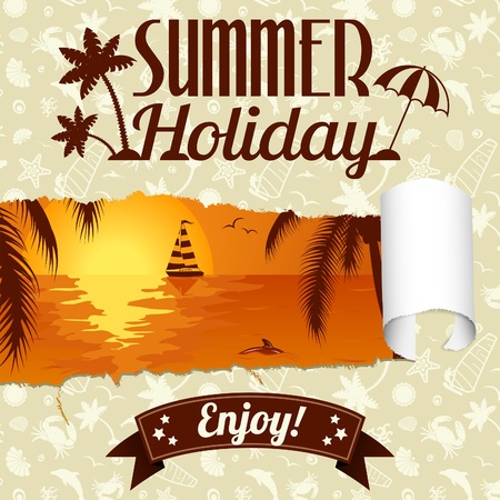 Summer Poster with Palm Tree, Dolphin and Yacht through Hole in Paper, vector illustration Stock Vector - 22150733