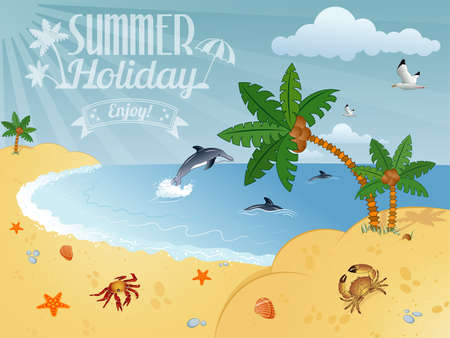 Detailed Summer Poster with Palm Tree, Coconut, Dolphin, vector illustration Stock Vector - 22150734
