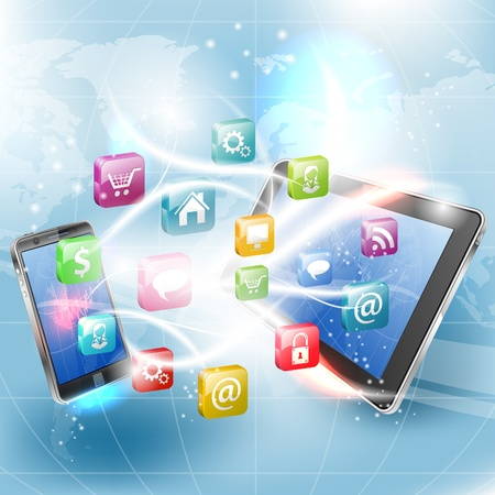 Business Concept with Tablet PC, Smartphone and Application icons, vector illustration Stock Vector - 22150735