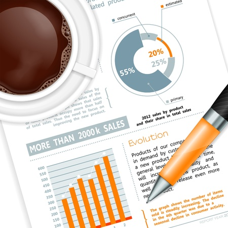 rollerball: Business and Corporate Work Concept with Report, Pen and Coffee Cup, vector
