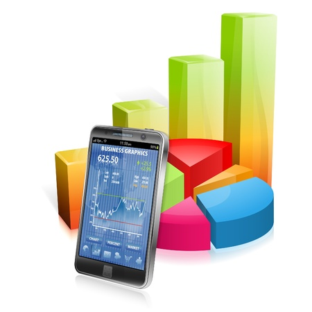 touchphone: Business Concept with Smartphone and 3D Graphs, vector isolated on white background