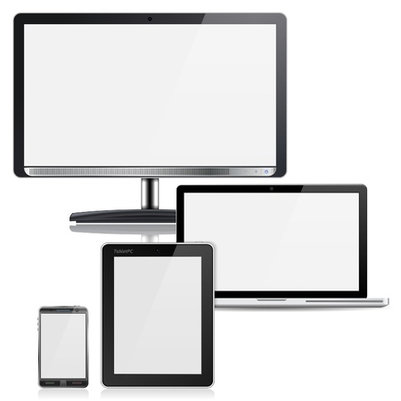 flatscreen: Set of Computer Devices - Monitor, Laptop, Tablet PC, Smartphone, isolated on white background