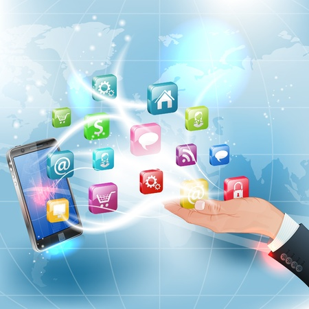 Business Concepts. Hand and Smartphone with Application Icons on Abstract Background Vector